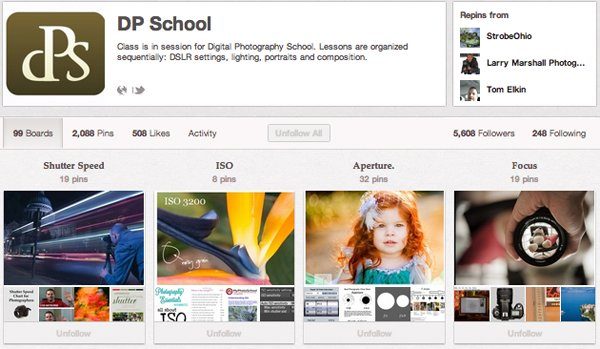 DPSchool Top 20 Photography Pinterest Boards