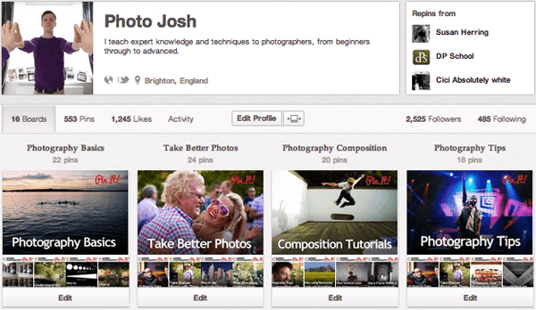 jsh Top 20 Photography Pinterest Boards
