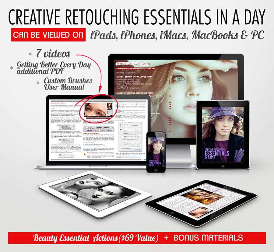 ESSENTIALS all devices 900 Creative Retouching Essentials In A Day eBook Review & Coupon